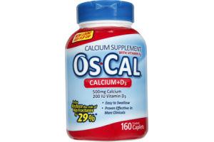 Os-Cal Calcium + D3 Supplement Caplets - 160 CT
