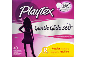 Playtex Plastic Tampons Gentle Glide 360 Regular Fresh Scent - 40 CT
