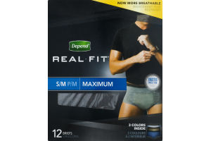 Depend Real Fit Briefs for Men Maximum S/M - 12 CT