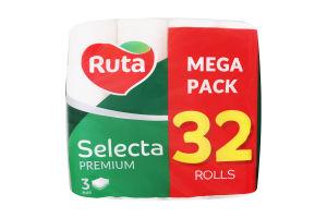 Папір туалетний 3-х шаровий Selecta premium Ruta 32шт