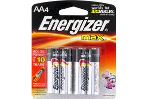 Energizer Max Alkaline Batteries AA - 4 CT