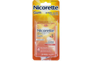 Nicorette 4mg Fruit Chill Coated Stop Smoking Aid Gum - 20 CT