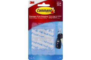 3M Command Brand Damage-Free Hanging Mini Hooks Clear - 6 CT