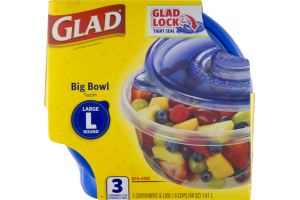 Glad Big Bowl Large Round Containers & Lids - 3 CT