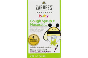 Zarbee's Naturals Baby Cough Syrup +Mucus Grape