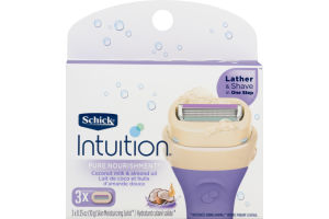 Schick Intuition Pure Nourishment Lather & Shave Razor Blades Coconut Milk & Almond Oil - 3 CT