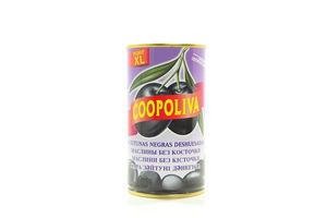 Маслины Coopoliva черные без косточек жестяная банка 350г