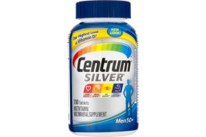 Centrum® Silver® Men 50+ Multivitamin/Multimineral Supplement Tablets 200 ct Bottle