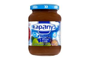 Пюре для детей от 4мес из яблок и слив Карапуз с/б 200г