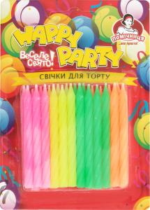 Свечи для торта неоновые Happy Party Помічниця 24шт