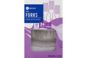 SE Grocers Premium, Clear & Full Size Forks - 24 CT