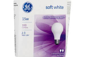 GE Lightbulb Soft Light 15W - 2 CT