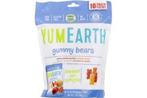 YumEarth Gummy Bears Variety Snack Packs - 10 PK