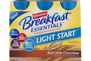 Carnation Breakfast Essentials Complete Nutritional Drink Light Start Rich Milk Chocolate - 6 CT