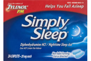 Tylenol PM Simply Sleep Nighttime Sleep Aid - 24 CT