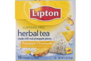 Lipton Caffeine Free Herbal Tea Pyramid Tea Bags Pineapple Chamomile - 18 CT