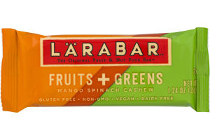 Larabar The Original Fruit & Nut Food Bar Fruits + Greens Mango Spinach Cashew