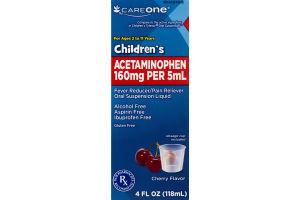 CareOne Children's Acetaminophen Fever Reducer/Pain Reliever Oral Suspension Liquid Cherry