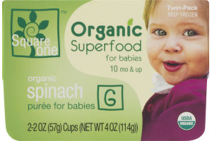 Square One Organic Superfood for Babies Organic Spinach Puree - 2 PK