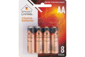 Smart Living Alkaline Batteries AA - 8 CT