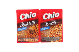 Соломка солона та крендельки з пшеничного борошна Stickletti&Brezli Chio м/у 250г