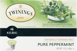 Twinings of London Keurig K-Cups Naturally Caffeine Free Pure Peppermint Tea - 12 CT