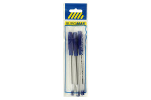 Ручка масляна SlideGrip, синя (з гум. грипом) 3 шт. блістер, BUROMAX