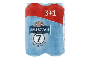 Пиво 4х0.5л 5.4% світле пастеризоване Export №7 Балтика з/б