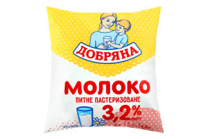 Молоко 3.2% питьевое пастеризованное Добряна м/у 450г
