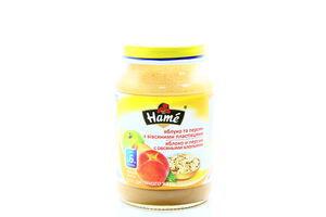 Пюре для детей от 6мес Яблоко и персик с овсяными хлопьями Hame с/б 190г