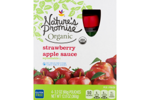 Nature's Promise Organic Apple Sauce Strawberry - 4 CT