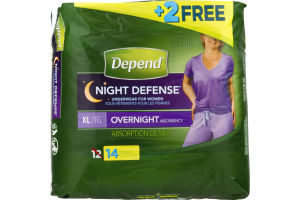 Depend Night Defense Underwear for Women Overnight Absorbency XL - 12 CT