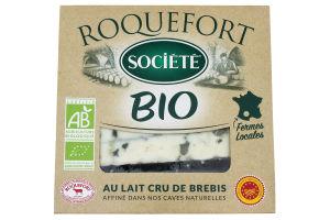 Сир 56% блакитний із овечого молока Roquefort Bio Societe к/у 100г
