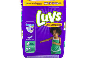 Luvs Ultra Leakguards With Night Lock Plus Diapers 6 Over 35 lbs - 21 CT