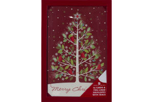 American Greetings Merry Christmas Cards & Foil-Lined Envelopes With Seals - 16 CT