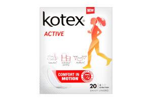 KOTEX прокладки щоденні Active 20шт екстра тонкі