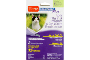 Hartz Ultra Guard Plus Topical Flea & Tick Prevention For Cats & Kittens Monthly Treatments - 3 CT