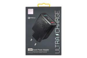 Устройство зарядное черное 18W QC3.0 Luxe Cube 1шт