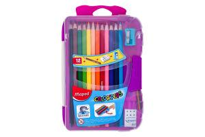 Олівці кольорові Maped Color Peps Smart Box,12кольорів+3 вироби,пластик.футляр з підвісом,асорті MP832032