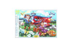 Пазлы для детей от 3-х лет Самолет Биплан Київська Фабрика Іграшок 88эл
