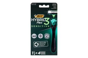 Бритвена система 3-лезова Hybrid 3 Flex Sensitive Bic 1шт