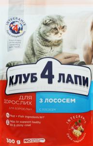 Корм сухой для взрослых кошек с лососем Клуб 4 лапы м/у 300г