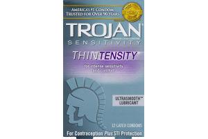 Trojan Sensitivity Thintensity Ultrasmooth Lubricant Condoms - 12 CT