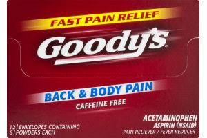 Goody's Back & Body Pain Caffeine Free Aspirin Powders - 12 CT
