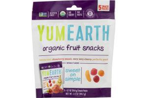 YumEarth Organic Fruit Snacks Pouches Banana, Cherry, Peach & Strawberry - 5 CT