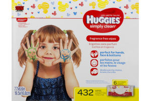 Huggies Simply Clean Wipes Fragrance Free - 6 PK