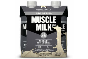 Muscle Milk Pro Series Non-Dairy Protein Shake, Intense Vanilla, 32g Protein, Ready to Drink, 11 fl. oz., 4-Pack