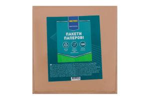 Пакеты бумажные с окном 160х160мм Metro Professional 100шт