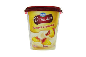 Десерт сирковий 3,4% з наповнювачем персик Дольче (стаканчик 0,300 кг)