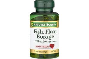 Nature's Bounty Fish, Flax, Borage Rapid Release Softgels - 72 CT